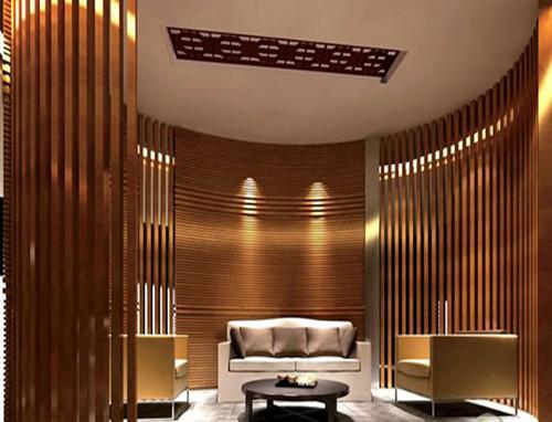 发廊弧形铝方通吊顶-波浪形木纹铝方通幕墙