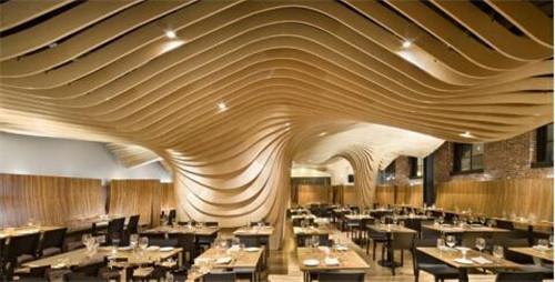 宾馆波浪铝方通弧形铝条板造型格栅天花