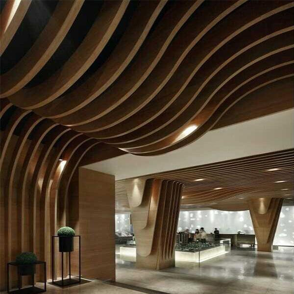 万达影院吊顶铝方通弧形木纹铝方通
