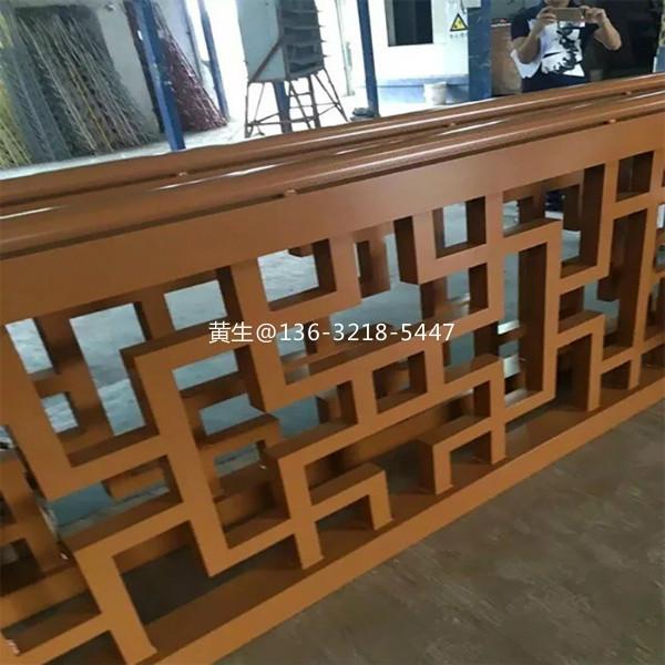 连锁餐厅木纹铝花格隔断屏风定做