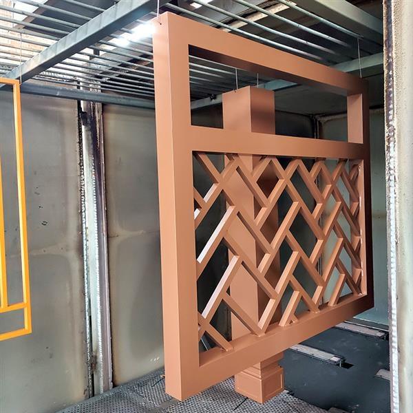 仿古原木色铝合金护栏屏风