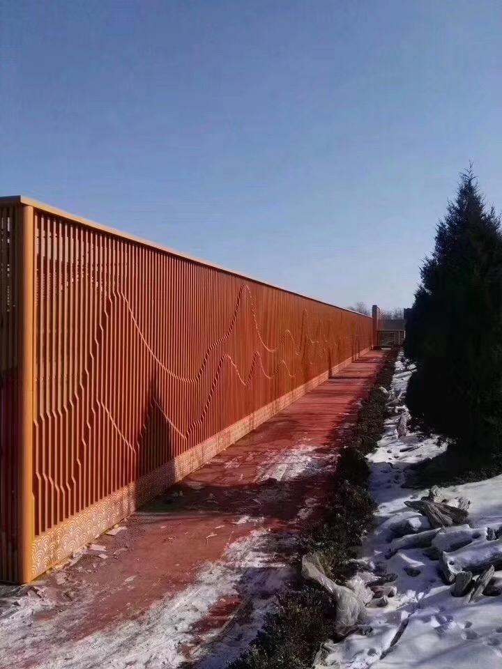 背景墙铝隔断格栅-木纹铝格栅屏风