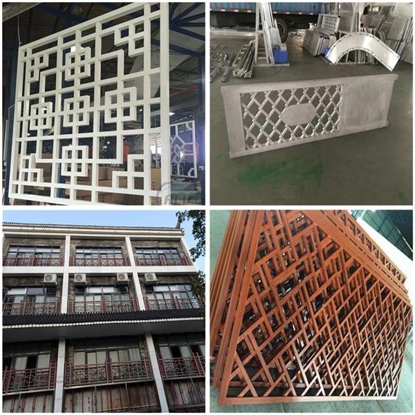 广东造型复古木纹铝窗花 酒店吊顶装饰