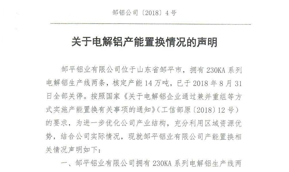 关于山东邹平铝业有限公司与霍林郭勒市齐源铝业有限公司电解铝产能置换方案的公示