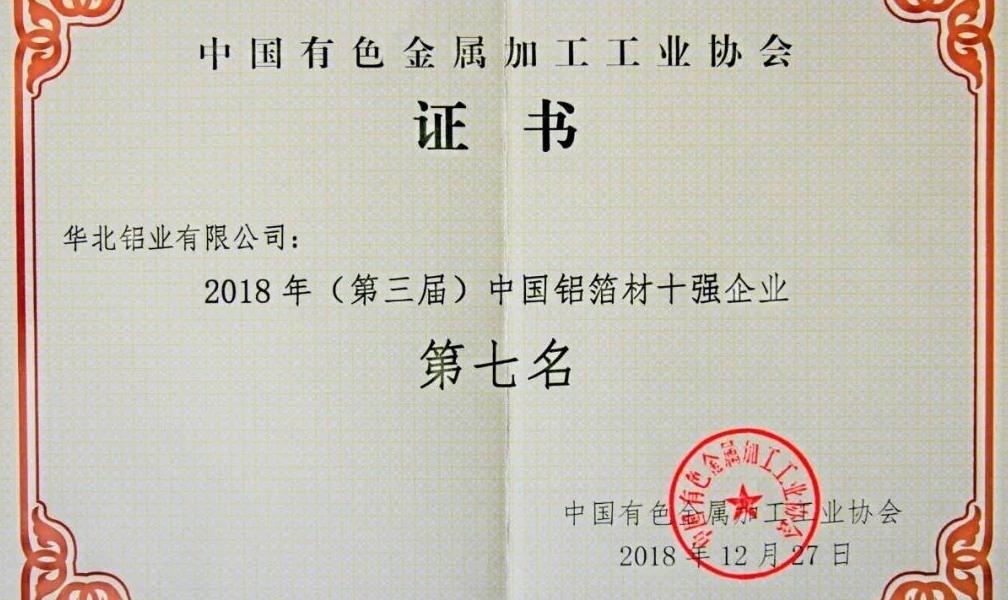 """五矿国际华北铝业有限公司再获""""中国铝箔材十强企业""""荣誉称号"""
