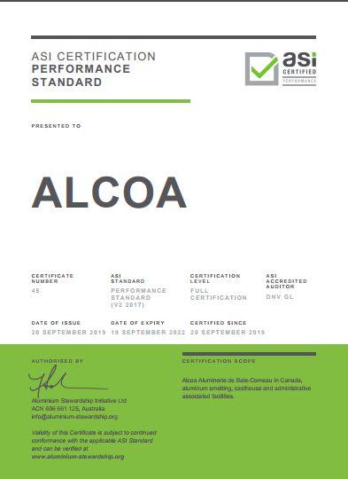美铝公司又一原铝冶炼厂获得铝业管理倡议ASI绩效标准认证