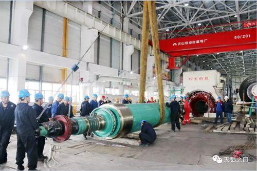 天山铝业发电事业部#9机组A级检修发电机抽转子顺利完成