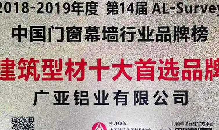 第25届广州门窗展广亚铝业斩获两项大奖