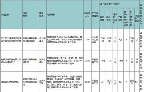 安徽2019年省重大前期工作项目(摘录铝)