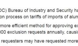美國商務部修改第232條鋼鐵和鋁關稅排除程序