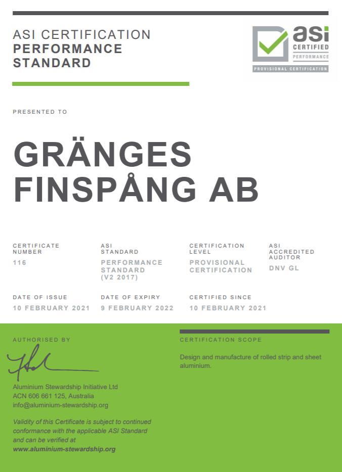 格朗吉斯铝业瑞典工厂通过铝业管理倡议ASI绩效标准认证
