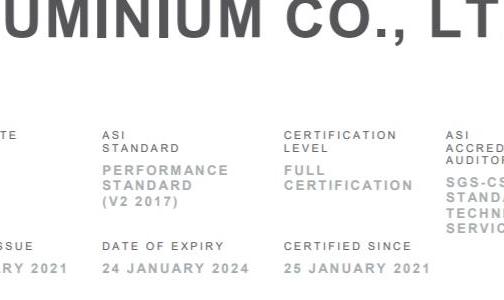云南涌顺铝业有限公司通过铝业管理倡议ASI绩效标准认证