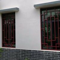 风景区接待处仿古铝花格 黑色木纹铝花格窗