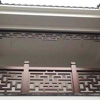 门楼铝挂落装饰-咖啡色镂空铝窗格