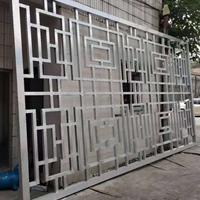 中式铝屏风装饰-楼阁木色铝隔断