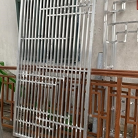 社区楼层仿古木纹色铝花格-铝合金格栅