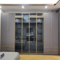 20新款橱柜定制铝制衣柜门定制窄边铝框极简玻璃门书柜铝框门