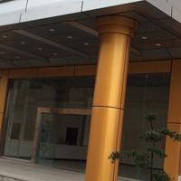 门头弯曲铝单板_办公室雨棚造型铝单板