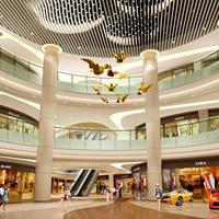 商场弧形铝方通吊顶-波浪木纹铝方通