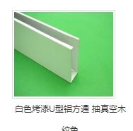 白色烤漆U型铝方通 抽真空木纹色