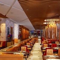 西餐厅吊顶装饰铝方通定做木纹铝方通