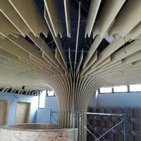 木纹弧形铝方通大树造型定制