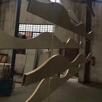 双弧形铝方通 各种波浪木纹铝方通造型