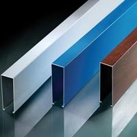 棋牌室门头矩形木纹四方管-木纹铝方管吊顶