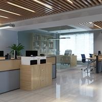 木纹铝方管吊顶-办公室室内造型铝方管天花