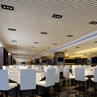 餐厅U型木纹铝方通吊顶