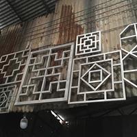 方管艺术烧焊铝窗花 铝屏风 木纹铝方格