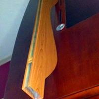 中庭木纹造型条扣屏风-波浪铝方通吊顶价格