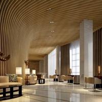 木紋鋁方通吊酒店大堂造型木紋鋁格柵天花