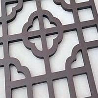 休闲亭古式方管木纹铝窗花品牌厂家
