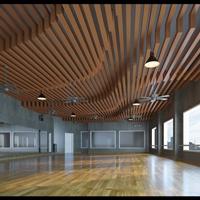 精美独特木纹弧形铝方通天花幕墙