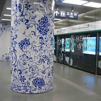 定制包柱铝板装饰,弧形柱饰,冲孔透光铝板
