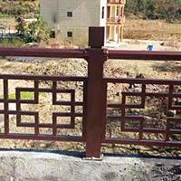 古建屋铝花格栏杆-仿古色铝护栏-过道围栏