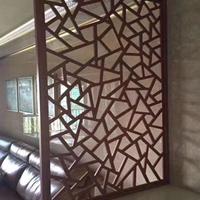 贵阳喷涂木纹色铝窗花订做  铝屏风花格厂家