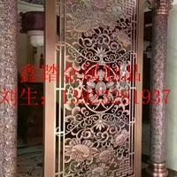 中式古铜色铝雕花玄关隔断厂家直销