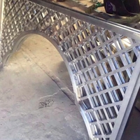 景不雅不雅拱月形铝花格-方管铝窗花-仿木色门窗