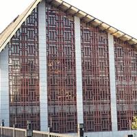 外墙型材拼接铝窗花 啡色铝花格定制厂家