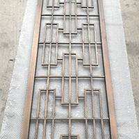 仿古街门头铝花格窗装饰-屋檐木色铝挂落儿