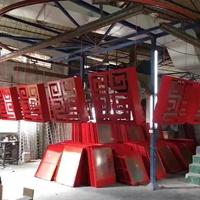 番禺区便宜的深红色回字形铝花格窗加工厂