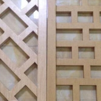 古建木纹型材铝花格 铝合金方管焊接窗花