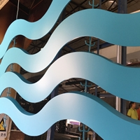 影院装饰波浪型木纹铝方通_仿木纹弧形方通