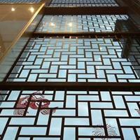 山西晋城四方铝管格栅仿木纹铝窗花