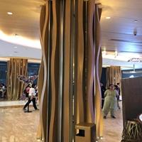 商城弧形铝方通吊顶_木纹弧形铝方通