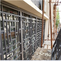 外墙古铜色铝花格窗订做厂家