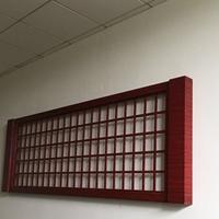 内蒙古红木色背景墙铝方格窗新颖时尚直售