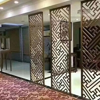 中式古典木纹铝屏风-铝窗花厂家定制